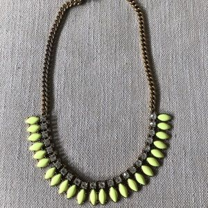 JCrew Neon and Crystal stone necklace